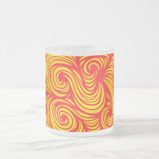 Meemken Abstract Expression Yellow Red 10 Oz Frosted Glass Coffee Mug