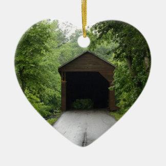 Meems Bottom Covered Bridge Double-Sided Heart Ceramic Christmas Ornament