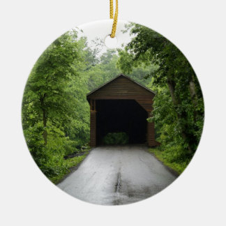 Meems Bottom Covered Bridge Double-Sided Ceramic Round Christmas Ornament