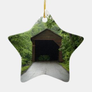 Meems Bottom Covered Bridge Double-Sided Star Ceramic Christmas Ornament