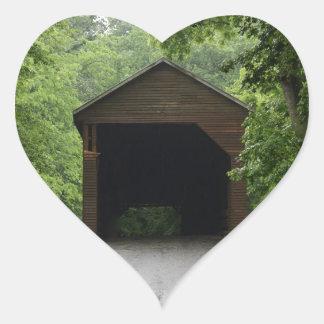 Meems Bottom Covered Bridge Heart Sticker