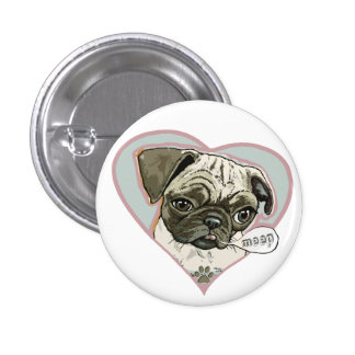 Meeping Pug Puppy by Mudge Studios Buttons