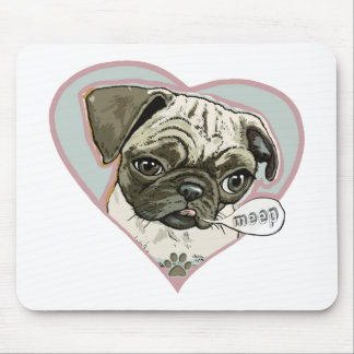 Meeping Pug Puppy by Mudge Studios Mouse Pad