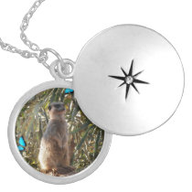 Meerkat,_And_Blue_Butterflies,_Pendant_Necklace Locket Necklace