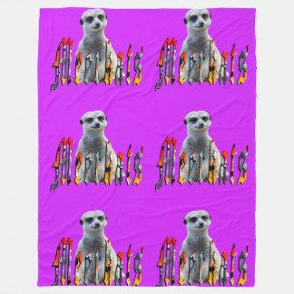 Meerkat And Logo, Large Purple Fleece Blanket