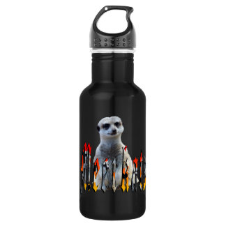 Meerkat And Meerkat Logo, Black Reusable Bottle. Water Bottle