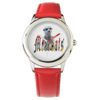 Meerkat And Meerkat Logo Kids Red Leather Watch. Wristwatch