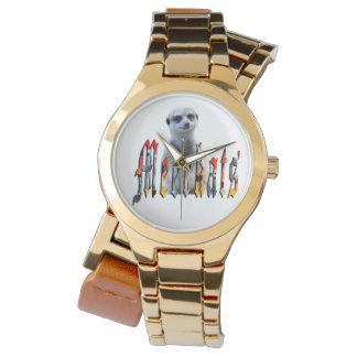 Meerkat And Meerkat Logo Ladies Gold Wrap Watch
