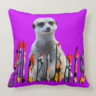 Meerkat And Meerkats Logo, Purple Throw Cushion. Throw Pillow
