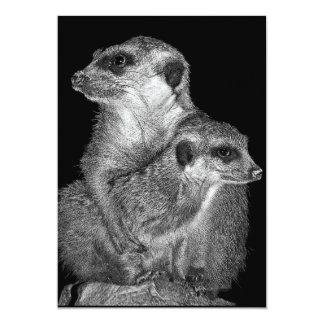 Meerkat and Pup, B & W, Black Back 5x7 Paper Invitation Card