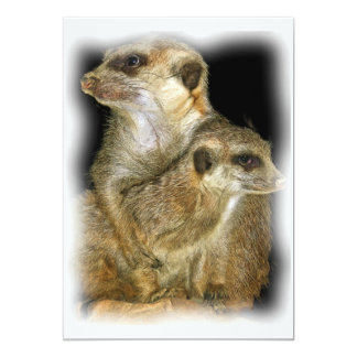Meerkat and Pup in Oil, jagged edge 5x7 Paper Invitation Card