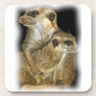 Meerkat and Pup in Oil, jagged edge Beverage Coaster