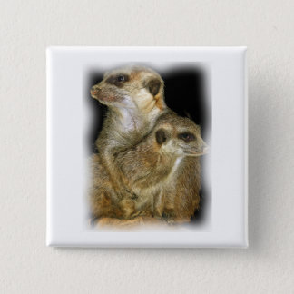 Meerkat and Pup in Oil, jagged edge Pinback Button