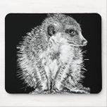 Meerkat, blanco y negro alfombrillas de ratones