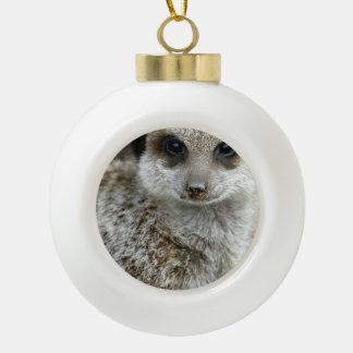 Meerkat Ceramic Ball Christmas Ornament