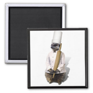 Meerkat Chef with Rolling Pin 2 Inch Square Magnet