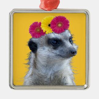 Meerkat con 3 margaritas brillantes del gerber adorno navideño cuadrado de metal