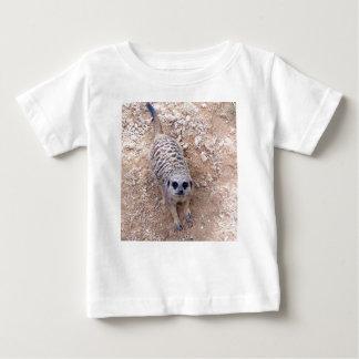 Meerkat contra la arcilla que mira para arriba la remera