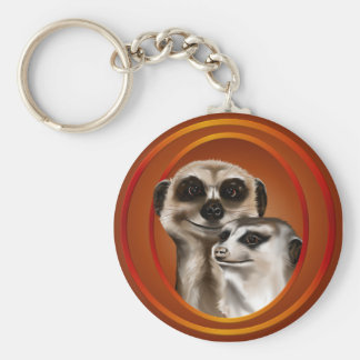 Meerkat Couple-Keychains Basic Round Button Keychain