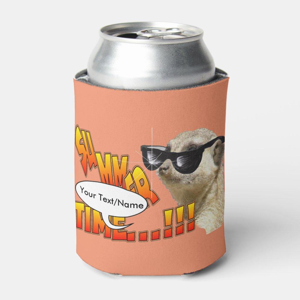 Meerkat Cust. Text Can Cooler