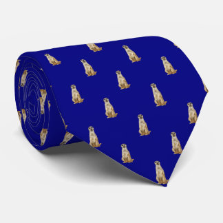 Meerkat Diamond Pattern on Navy Blue Neck Tie