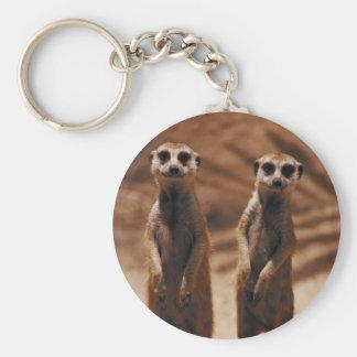 Meerkat Duo Basic Round Button Keychain