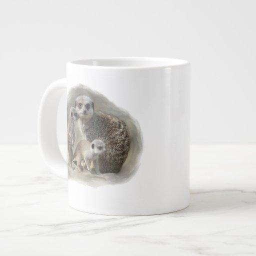 meerkat family 20 oz large ceramic coffee mug