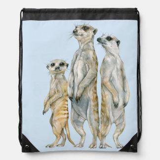Meerkat Family Drawstring Backpack