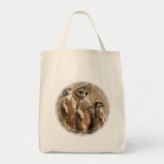 Meerkat Family Grocery Tote Bag