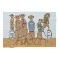 Meerkat Family Portrait Kitchen Towel