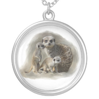 Meerkat family round pendant necklace