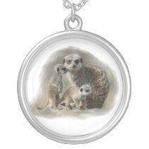 Meerkat family silver plated necklace