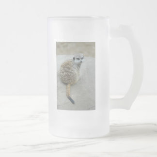 Meerkat Frosted Glass Beer Mug
