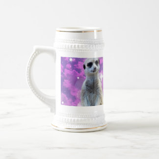 Meerkat Glitter Ball,_White_Beer_Stein_Mug. Beer Stein