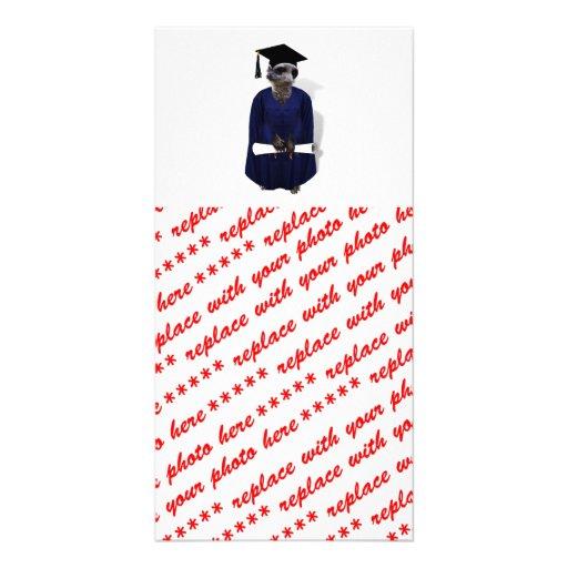 Meerkat Graduate W/ Blue Gown & Diploma Photo Card Template