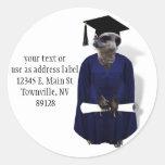 Meerkat Graduate W/ Blue Gown & Diploma Sticker