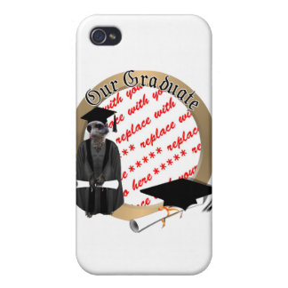 Meerkat Graduate W/Grey Gown & Black Sash iPhone 4/4S Case