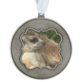 Meerkat Habitat Scalloped Pewter Christmas Ornament