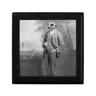 Meerkat in a Business Suit with Golf Club Box Jewelry Boxes