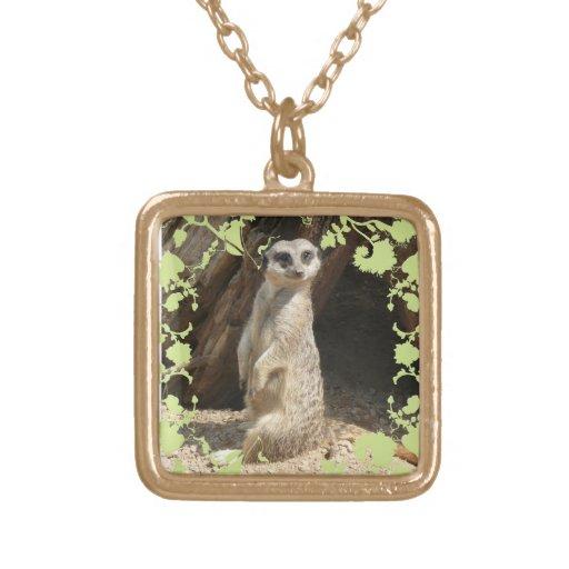 Meerkat lindo colgante cuadrado