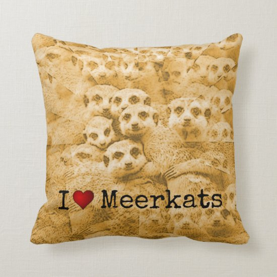 Meerkat Love Cute Wildlife Glitch Art Typography Throw Pillow
