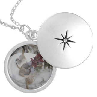 Meerkat_Lunch_Time,_Silver_Necklace, Round Locket Necklace