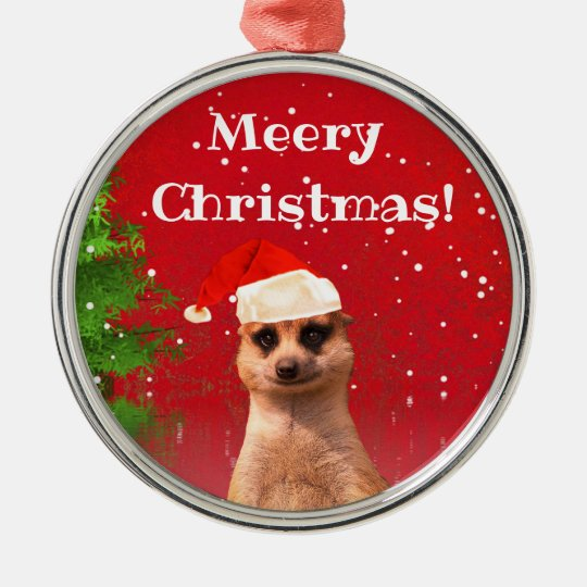 Meerkat Meery Christmas Funny Christmas Ornament | Zazzle.com