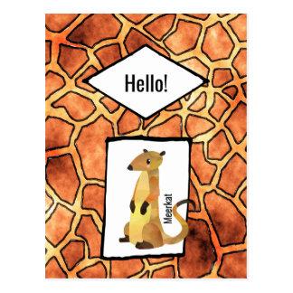 Meerkat on Exotic Giraffe Skin Pattern with Hello Postcard
