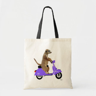 Meerkat on Lilac Moped Tote Bag