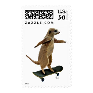Meerkat On Skateboard 2 Postage