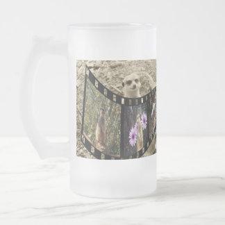 Meerkat Photo Strip Big Frosted Glass Beer Mug. Frosted Glass Beer Mug
