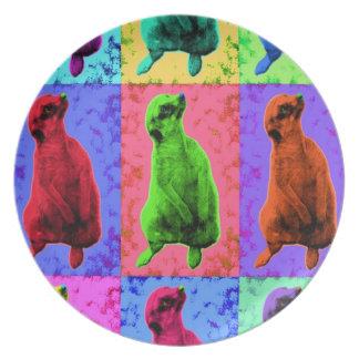 Meerkat que mira para arriba el Multi-Panel de Pop Platos