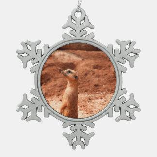 meerkat que se levanta el animal del gato del meer adorno de peltre en forma de copo de nieve