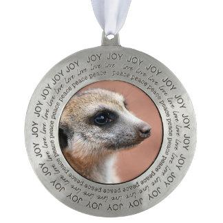 Meerkat Round Pewter Christmas Ornament